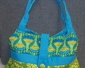 Shop Closing Feb 15 Clearance 50% Discount - Anna Maria Horner Green Tote Hobo Bag with Erin McMorris Leaf Dots