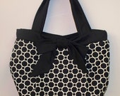 Shop Closing Feb 15 Clearance - was  49 - Pleated Black and winter white Dena Designs Fabric Bow Bag - Great Gift Idea