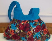 Shop Closing Clearance -  was 50 - Posh Pleated and Buttoned Corduroy Market Hobo Bag - Turquoise Floral