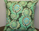 Designer Amy Butler Fabric Throw Pillow Cover in Daisy Chain Forest - 16X16 Removeable Covers