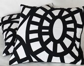 Last One - Black and white Swirls Throw Pillow Cover Cushion Case 16X16 Removeable Covers