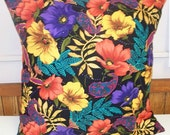 Sale was 15 - Throw Pillow covers sewn with Designer Fabric having Night Flowers and lovely colors on black 16X16