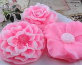 Soap - Pretty In Pink Flower Soap Made  With Shea Butter - Glycerin Soap - Handmade Soap - SoapGarden