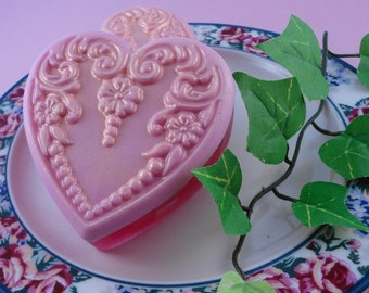 Soap - Antique Victorian Heart Soap - Glycerin Soap - Handmade Soap - Valentine's Day - SoapGarden