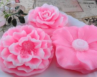 Soap - Pretty In Pink Flower Soap Made  With Shea Butter - Glycerin Soap - Handmade Soap - SoapGarden