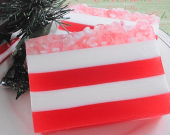 Soap - Candy Cane Lane Holiday Soap - Glycerin Soap - Holiday Soap - Christmas Soap - Hostess Gift - Peppermint Soap - Party Favor
