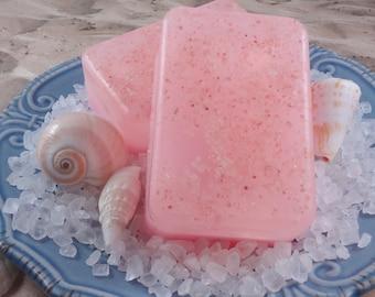 Tickle Me Pink Grapefruit Sea Salt Soap With Pink Sea Salt - Glycerin Soap - Handmade Soap - Pink Sea Salt Soap - Artisan Soap - SoapGarden
