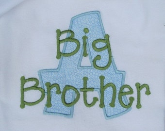 Applique Initial Big/Little  Brother or Big/Little Sister Shirt or Onesie