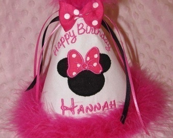 Custom Minnie Mouse Boutique Birthday Hat.