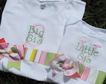 Personalized Big Sister and Little Sister Matching Ribbon Shirts