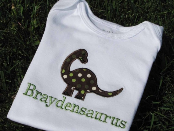 Personalized Dinosaur Shirt for Boys and Girls.  Sizes NB through 24 months (larger sizes available on seperate listing)