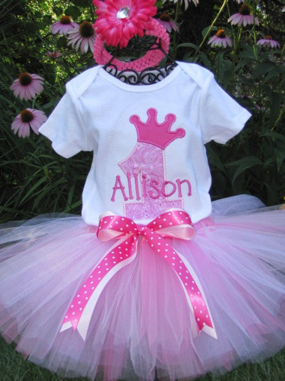 Perfectly Pink Princess Birthday Tutu Set.