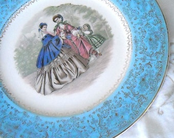 VINTAGE LADIES SERVING PLATE WITH 22K GOLD TRIM