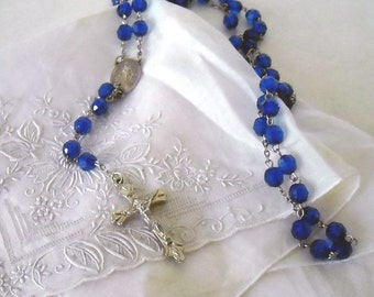 Vintage 60's Crucifix Blue Beads and Silvertone