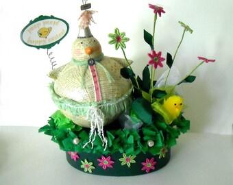 peep peep - happy easter - ooak original handmade easter gift box