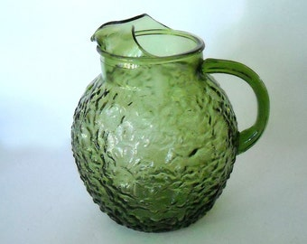 SALE...............45.00  anchor hocking milano lido avocado green pitcher -  crinkle bubble style 60's - 70's