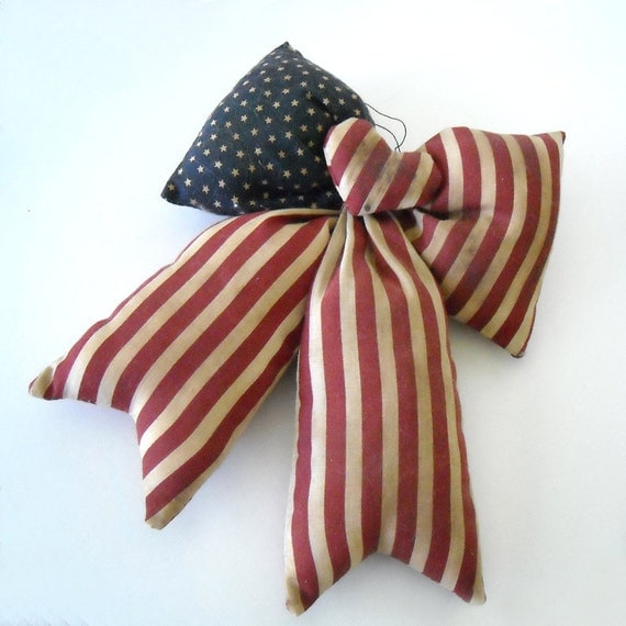 Vintage OOAK  70's Handmade Tea Died Stuffed Red, White, and Blue American Flag Bow