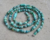Long Turquoise Blue Semi Precious Stone Beaded Necklace - Water