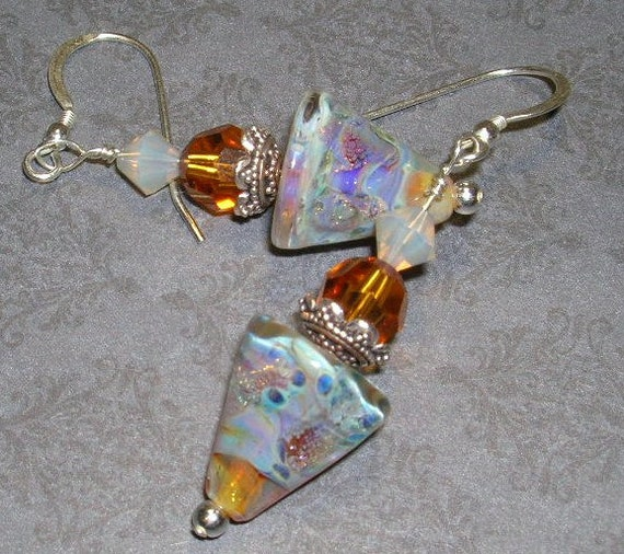 Cone-shaped topaz/cream lampwork beads with sterling silver findings-- Designs By Camaya-- Earring Collection