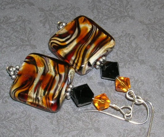 Square Tiger Lampwork Bead Earrings-- Designs By Camaya Collection