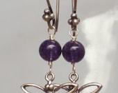 Dragonfly sterling silver Brazilian Amethyst earrings