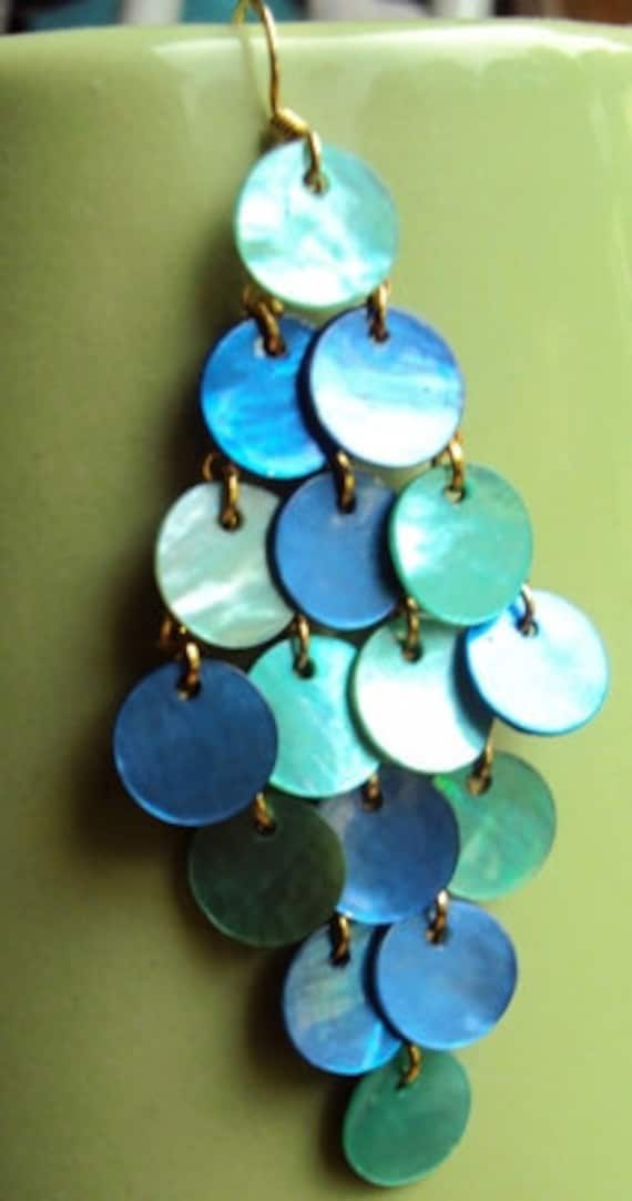 CARRIBEAN diamond drop shell earrings