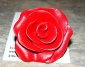 SALE / GLADYS - glittering red rose ring (adjustable) SALE - raising brain cancer awareness