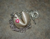 LUCKY  - handsculpted clay fortune cookie and heart necklace (pearl) - raising brain cancer awareness