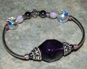 LICKETY-SPLIT amethyst and swarovski crystal bracelet (stretch) - raising brain cancer awareness