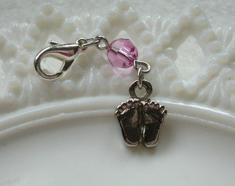Pink or Blue Baby Feet Rosary Place Marker