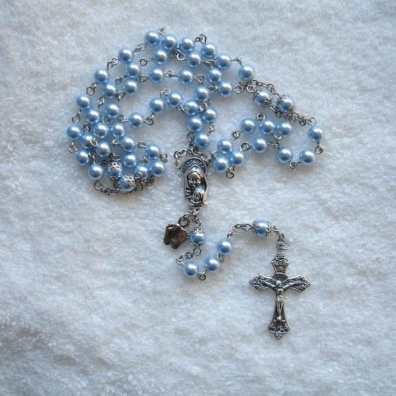 Light Blue Swarovski Crystal Pearl Pro-Life Awareness Rosary