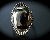 Reflections Of You Vintage 20s 30s Art Deco Style Sterling Silver and Hematite Ring 9  -on sale-
