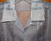 Lilac Smoke Sheer Diamond Rockabilly 40s 50s Vintage TIKI Shirt RARE L XL -on sale-