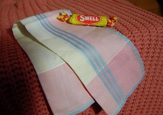 Vintage 40s 50s Powder Pink and Blue Plaid Cotton Handkerchief Lipstick Cloth -on sale-