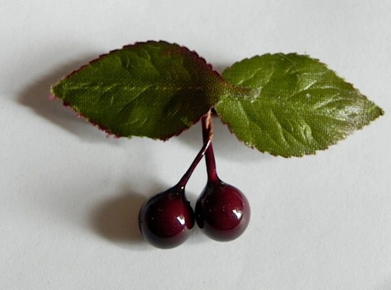 BLACK CHERRY 40s Style Vintage Hair Clip Barrette Rockabilly Pin Up