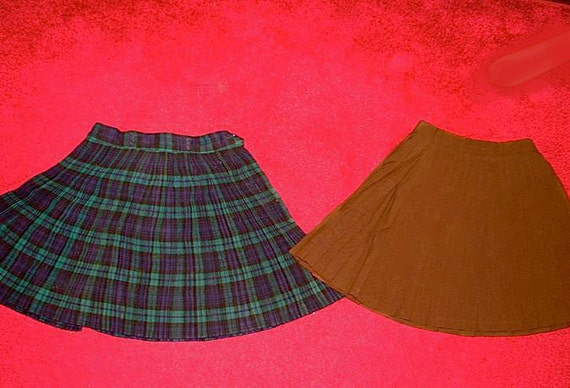 Lot of Two 2 Vintage 50s  60s Short Pleated School Girl Skirts S XS Womens