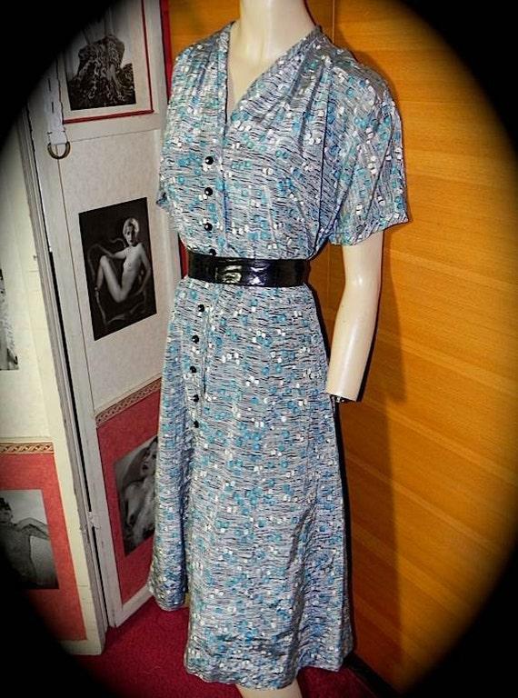 Fantastic Atomic Print Vintage 40s 50s Silk Rayon Rockabilly Dress  XL PLUS -on sale-