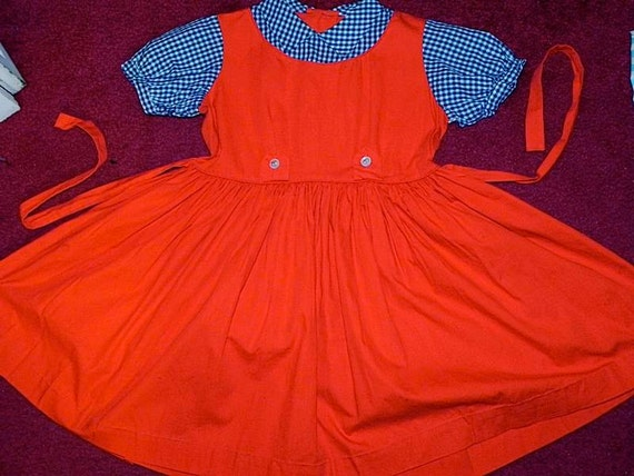 Vintage 50s Girls Dress So Cute Red with Gigham Top 6X - on sale-