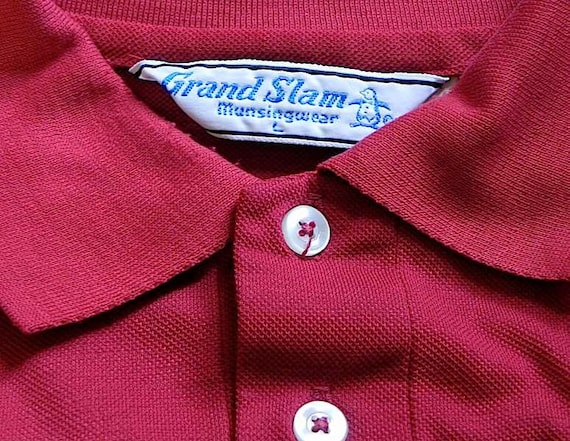 Dead Stock Vintage 50s 60s Dark Red Knit Mob Polo Shirt L -on sale