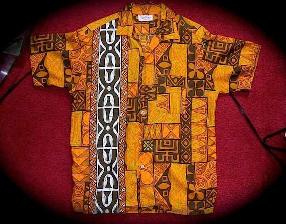 Vintage 60s Hawaiian Aloha Shirt Tribal Tiki Print M L 46 47 -on sale
