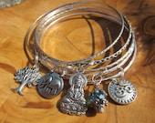 Buddha Bangle Bracelet Set with Buddha - Goddess of Compassion, Lucky Elephant, Om, Tree of Life and Turquoise Crystal - Yoga Jewelry