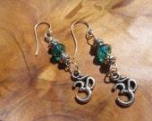 Om Yoga Namaste Earrings with Emerald Stone - Buddha, Buddhism, Zen, Spiritual, Yoga, Yoga Jewelry- Free Shipping