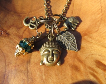 Buddha with Om, Leaf, Lucky Elephant and Emerald Crystal Dangle in Anqtique Brass -  Zen, Buddhism, Yoga, Yoga Jewelry, Spiritual, Namaste