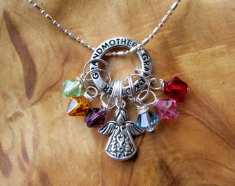 CHRISTMAS- GRANDMOTHER - All my Angels Family Birthstone Charm necklace - Choose any swarovksi crystals, Great gift