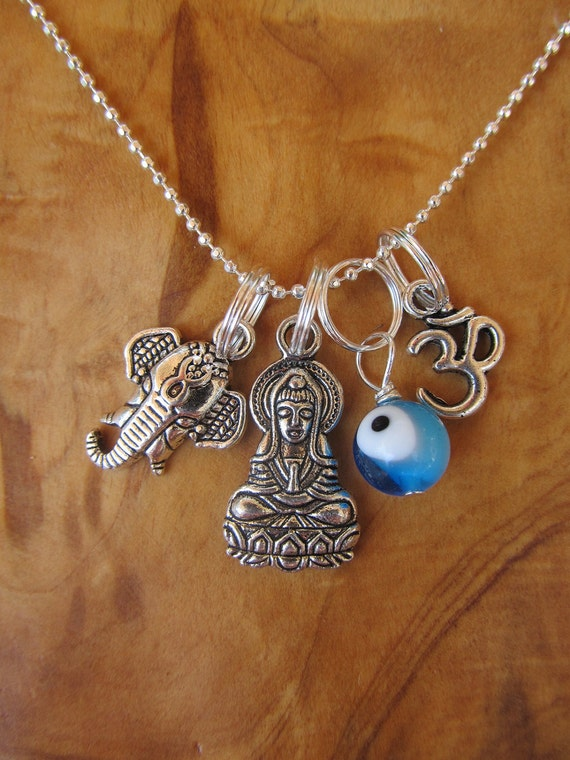 Protection from Evil Charm Necklace with Buddha - Goddess of Compassion, Ganesha, Evil Eye and Om , Yoga Jewely, Zen, Buddhism