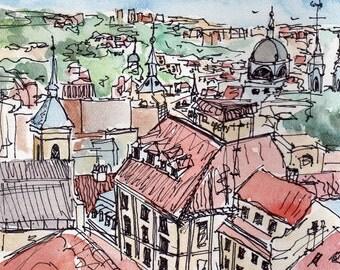 Terracotta Rooftops Cityscape Madrid, Spain -Fine Art Watercolor Print