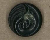 Large Black Nautilus Swirl Button