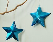 Blue Seltzer Stars Christmas Ornaments Soda Can Upcycled Repurposed - LizardSkins