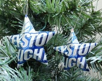Keystone Light Beer Stars Christmas Ornaments Aluminum Can Upcycled