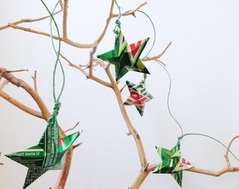 Holiday GARLAND Mt Dew Stars Christmas Soda Can Upcycled Mountain Dew